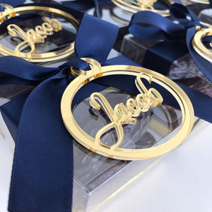 Custom Made Round Gold Acrylic Mirror Name Tags for Baby Personalized Laser Cut Name Logo 10cm diameter