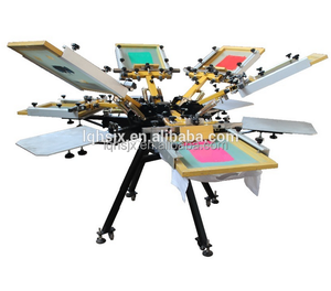 Manual 4 color/4 station rotating screen printing machine for t shirts /clothes HS440F
