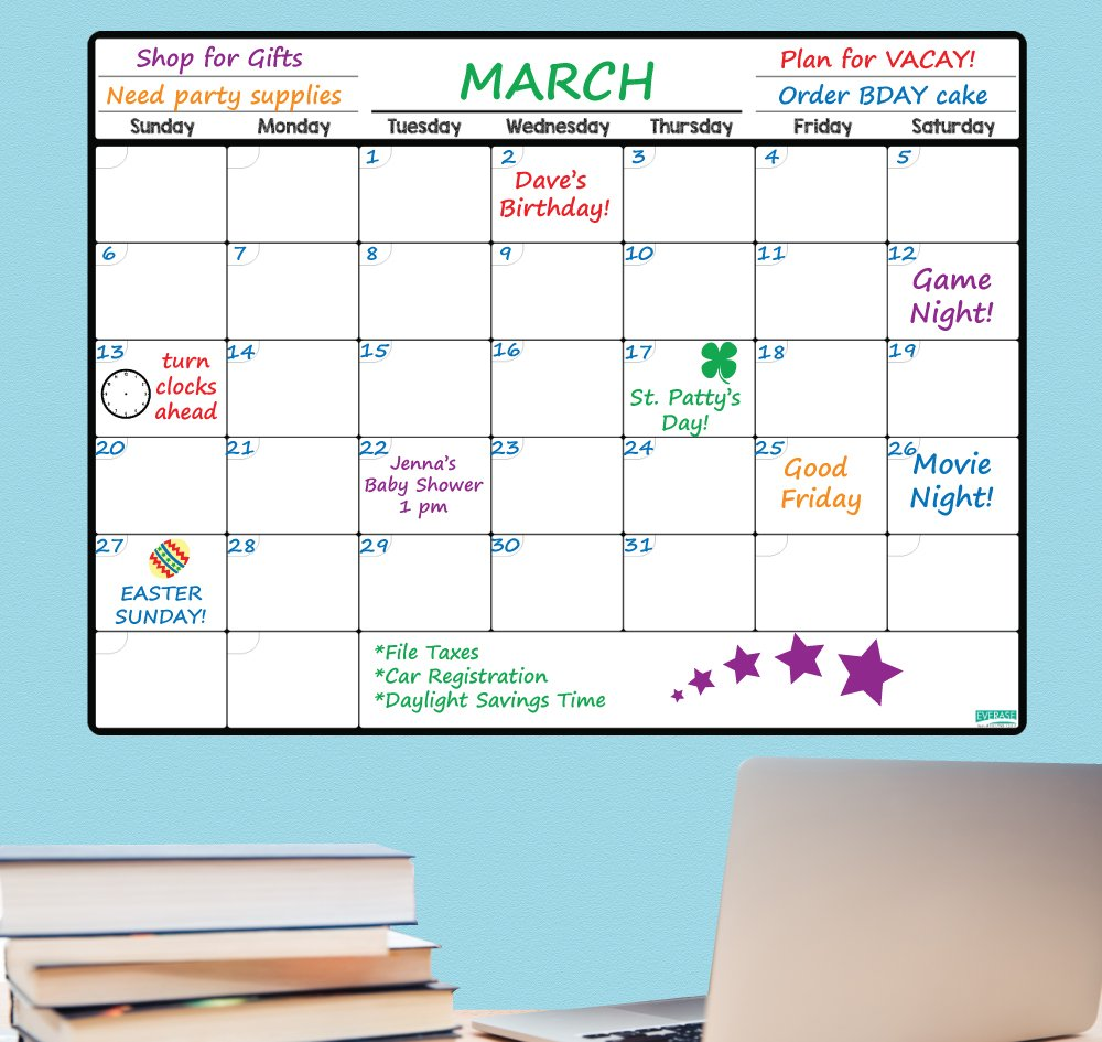 Everase Re-Stic Dry Erase Self-Adhesive Peel & Stick Monthly Planner & Calendar (12 x 16 in.) FREE Marker & Cloth   Organizer, Walls, Doors, Refrigerators   Premium Quality Removable Decal