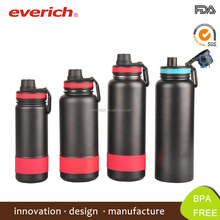 Double wall stainless steel sports water bottle with nozzle cap
