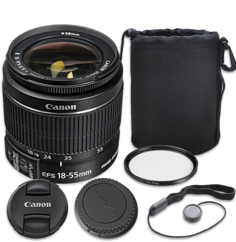 Canon EF-S 18–55mm f/3.5–5.6 IS II Lens with Complete 3PC Accessory Kit - International Version (No Warranty)