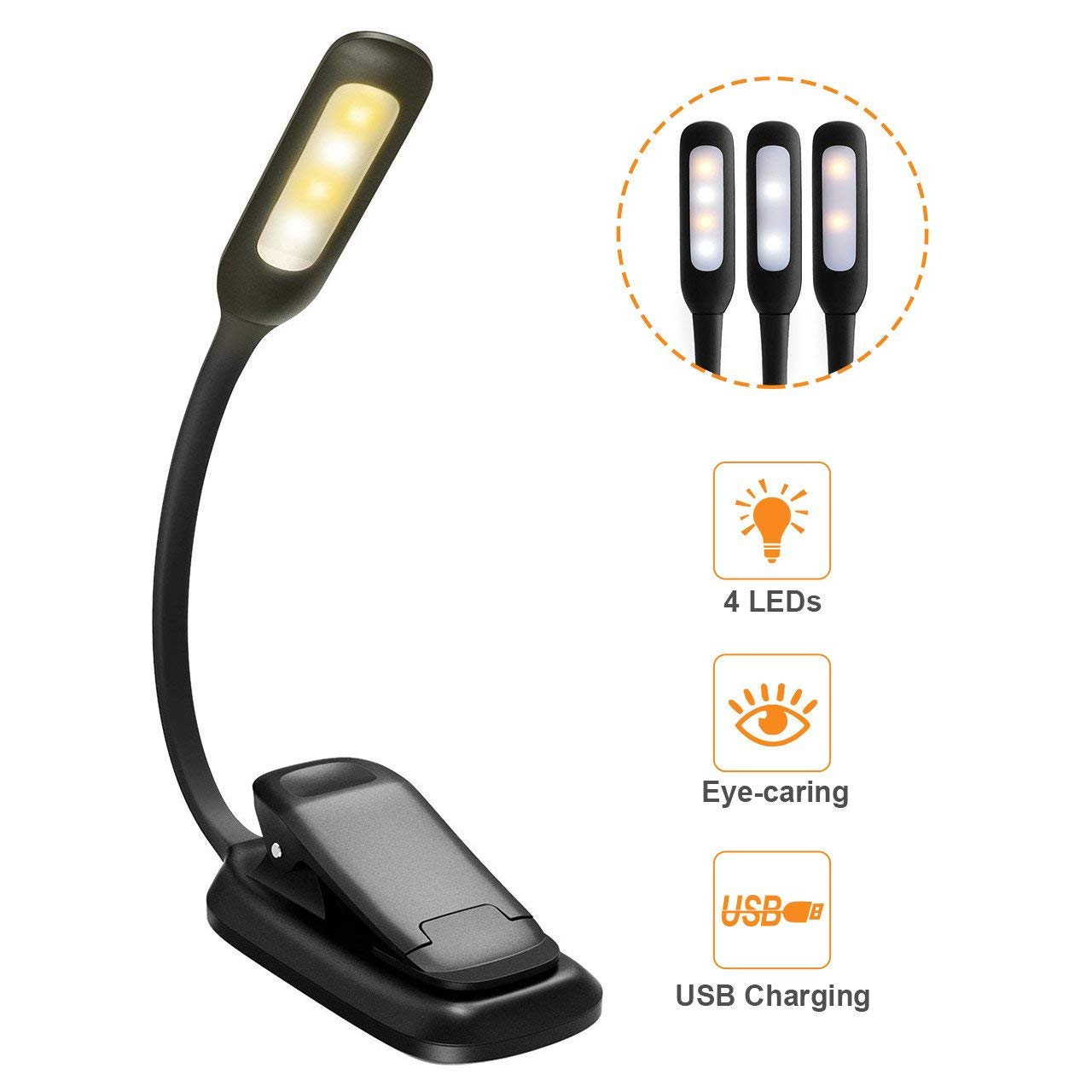 Book Light, Rechargeable Clip-On LED Reading Light with 3-in-1 Modes(White & Warm), Eye Protection Brightness for Kindle, Night Reading
