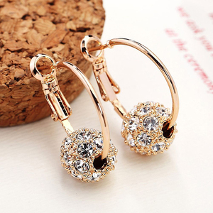 Hot sale colored diamond disco ball earring decorative ladies earrings gold colorful beads fashion earrings