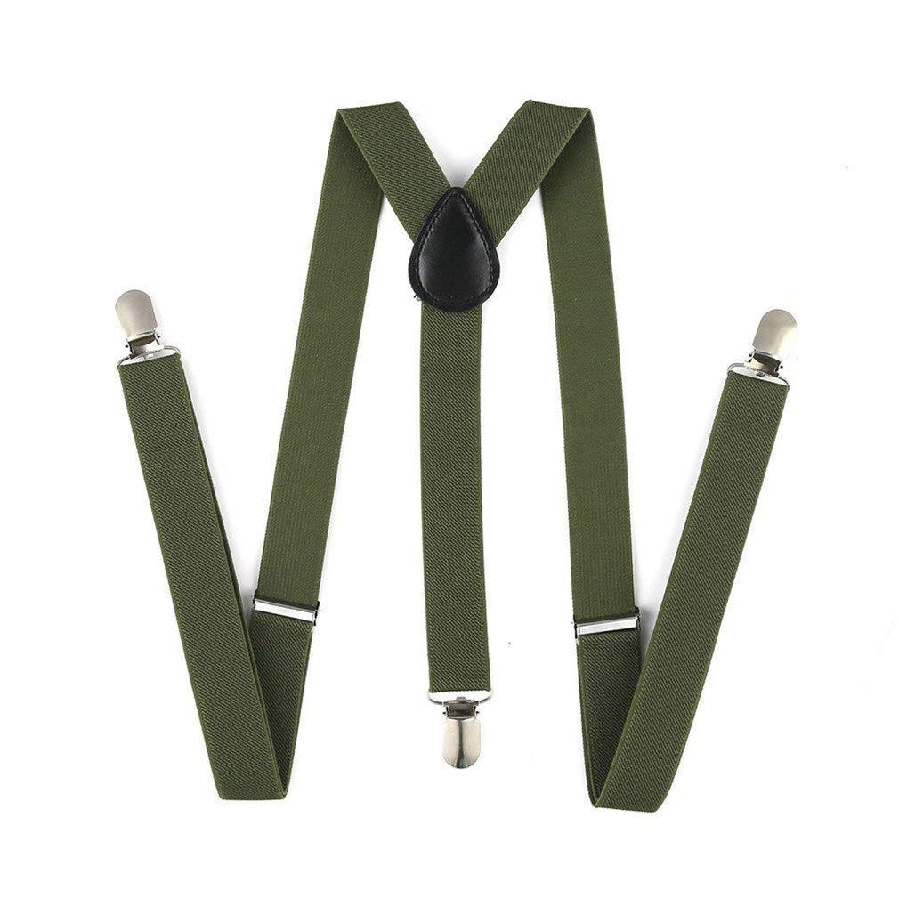Enwis Mens Suspenders Braces Polyester Elastic Clip-on Solid Navy Blue