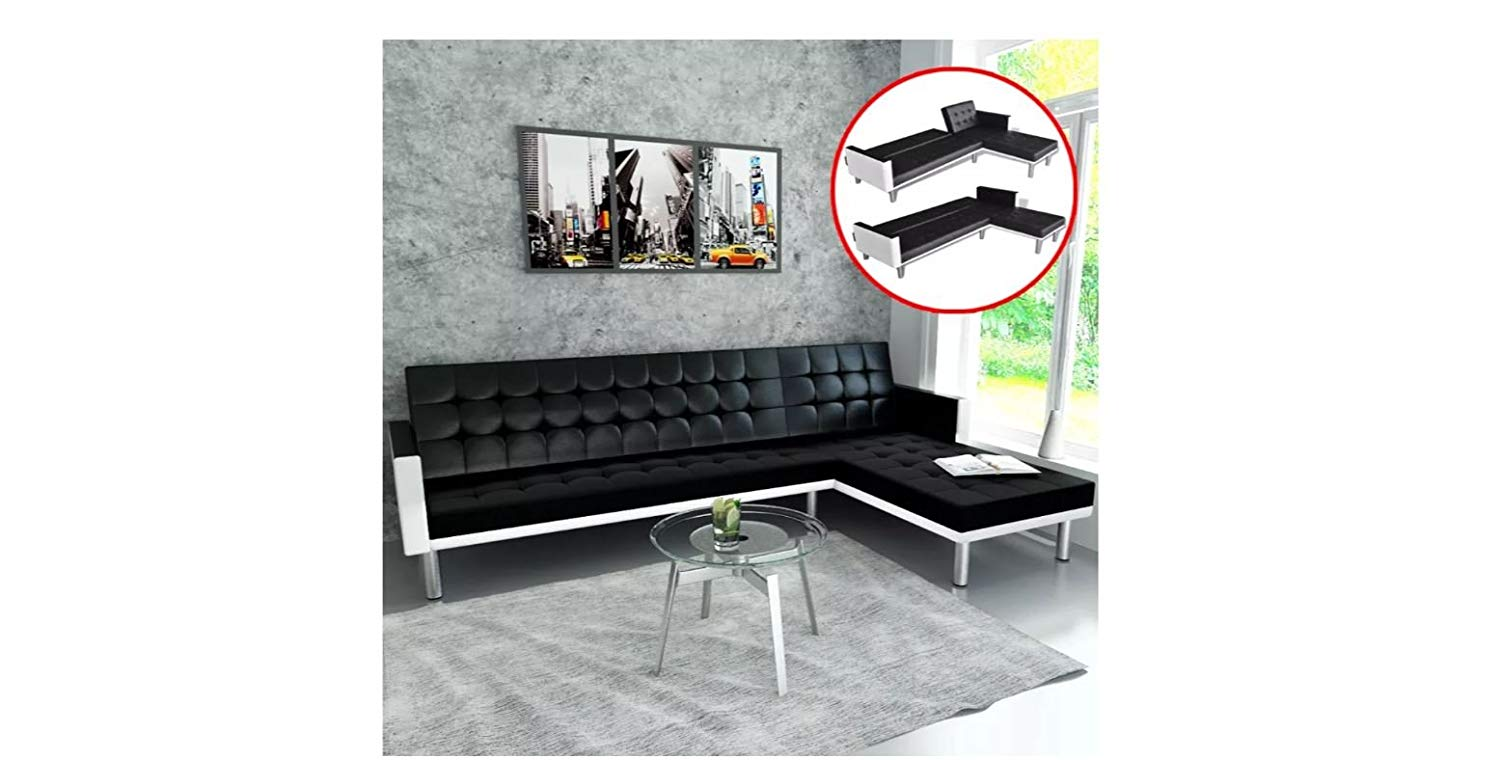 Sofa Bed L-shaped Artificial Leather Black and White K&A Company