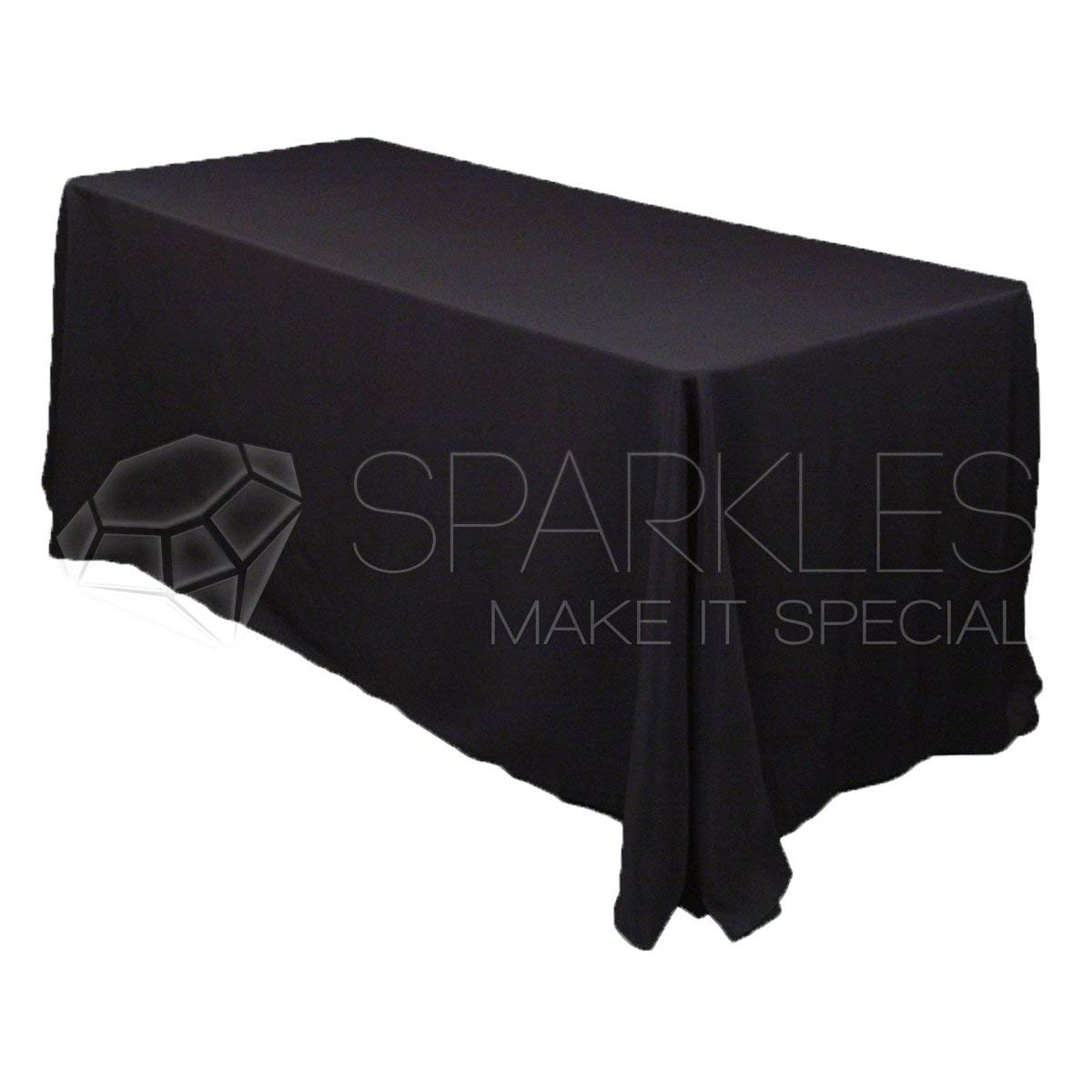 "Sparkles Make It Special 90"" x 156"" inch Rectangular Polyester Cloth Fabric Linen Tablecloth - Wedding Reception Restaurant Banquet Party - Machine Washable - Black"