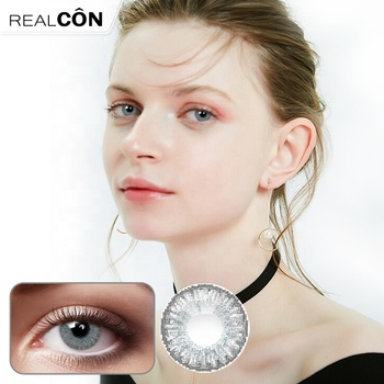 Realcon splendid big eye 3 tone colored contact lens Hazel green sterling gray color fancy look for wholesale color contact lens