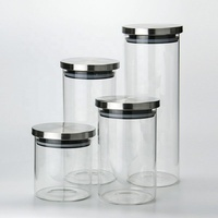 Eco Friendly Borosilicate Glass Storage Jars With steel Lid glass food container for Kitchenl Airtight Food Jar for Pantry