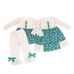Hot sale long sleeve girls lace outfits cute top with ruffle pants sets