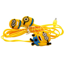 2015 Hot Cute Cartoon Minions In Ear 3.5mm Wired Headphone Earphone Earbuds Headsets For your Iphone 6 5S 4S Samsung S3 S4 MP3