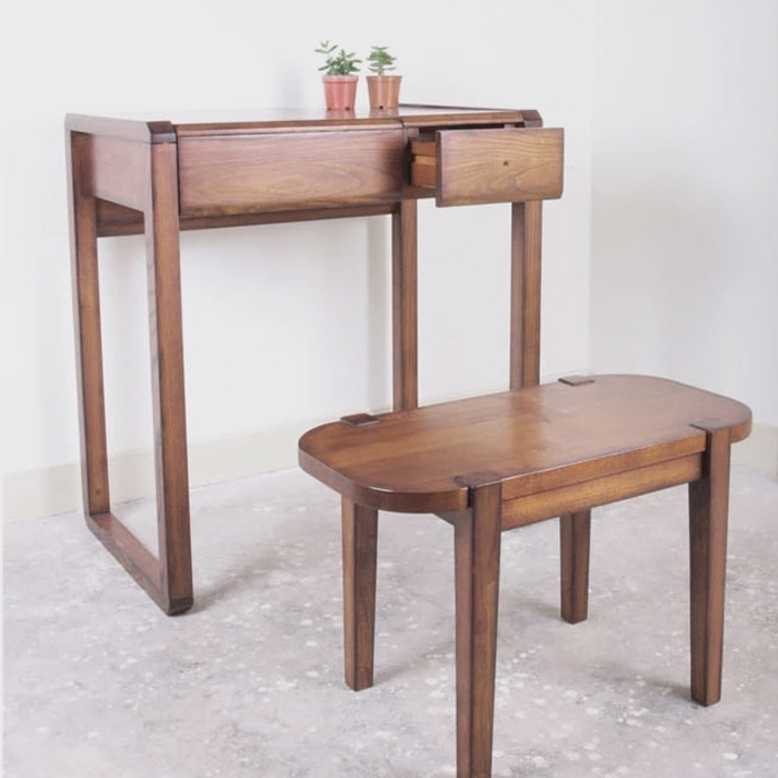 Wood Flip Dresser Dressing Table With Stool Small Bedroom