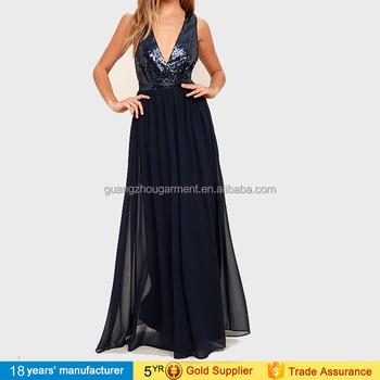 f0e0339b19 Guangzhou garment factory made plunge deep v neck sleeveless mesh sequin  evening dress