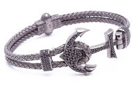 Wholesale 316L stainless steel Bracelet anchor bracelet for men luxury with cz stones paved