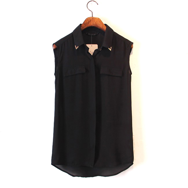 2014 New Fashion Womens Sexy Sequined Studded Collar Blouse Sleeveless Shirt Elegant Casual  Design Tops