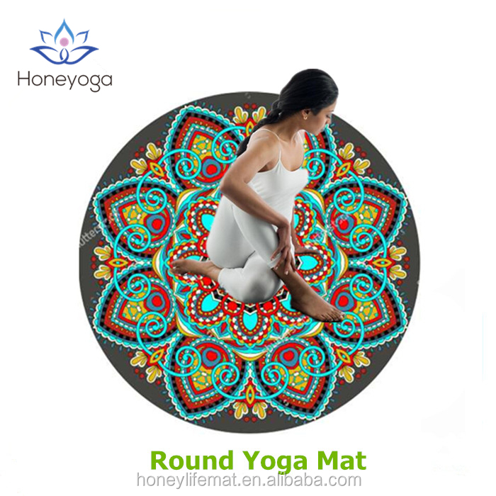 Custom round suede yoga mat multifunctional round mat for children or adults