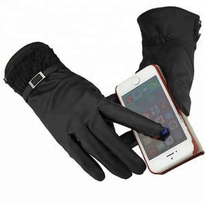 d865a8aaa52a7 Black Warm WinterTexting Windproof LED Touchscreen PU Leather Fleece Linner  Hand Smartphone Breathable Safety Work Gloves