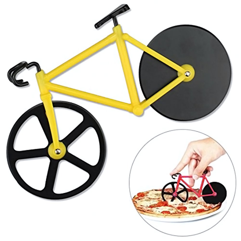 GogoForward Bicycle Pizza Cutter Dual Stainless Steel Non-Stick Cutting Wheels (Yellow)