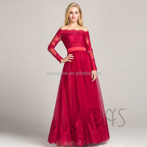 Dressystar 2018 evening gown wholesale dark red off-shoulder long sleeves lace evening dress