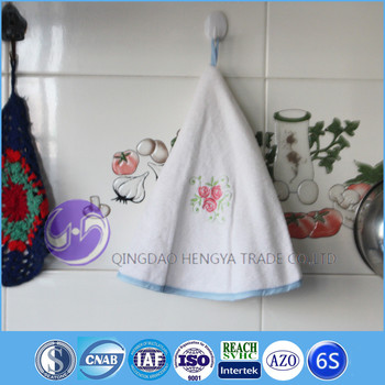 hanging terry round embroidery cotton kitchen hand towels with loopties - Kitchen Hand Towels
