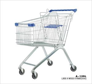 certified safe durable supermarket shopping trolley cart wheels 905*555*980MM with 125L