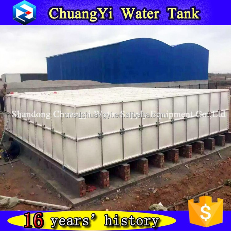 2017 frp 100 tons water storage tank/grp frp sectional water tank/fiberglass rectangular water storage tank