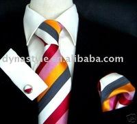 Silk Woven Jacquard Striped Necktie Cuff link Pocket Square Set