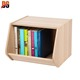 Light Brown Open top wood book storage box