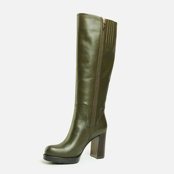 865610674e9 2018 Hot sale Sexy Fashion Hunter green Genuine leather Block heels Ladies  long booties Women Knee