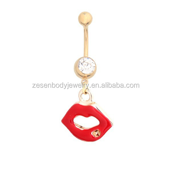 hot sale red lip belly button ring pircing gold belly button rings navel piercing ring women sexy body jewelry