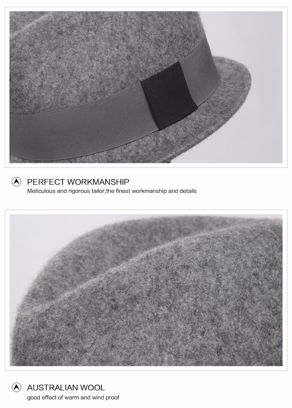 3e37a882b36c9 Men Trilby Hat wool Felt Hat With Australian Wool Male Fedora Hat ...