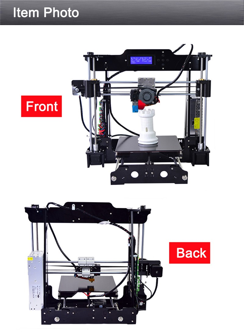 3d printer imprimante 3d i3 prusa auto level 2 rolls filament 8 go sd card. Black Bedroom Furniture Sets. Home Design Ideas