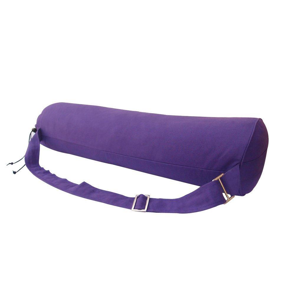 HealthAndYoga(TM) Cotton Yoga Bag Drawstring Style - Purple