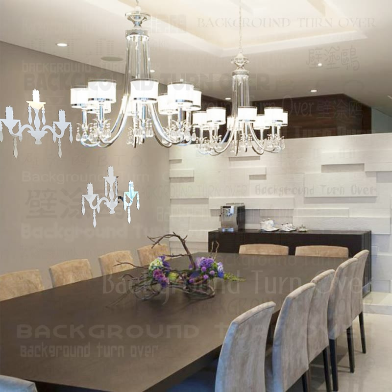 Free ship about home decor Creative European style chandelier vintage wall mirror stickers for dinning room restaurant  XTP-035