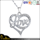2015 top selling custom heart shaped sweet beautiful love gift, heart necklace for girl