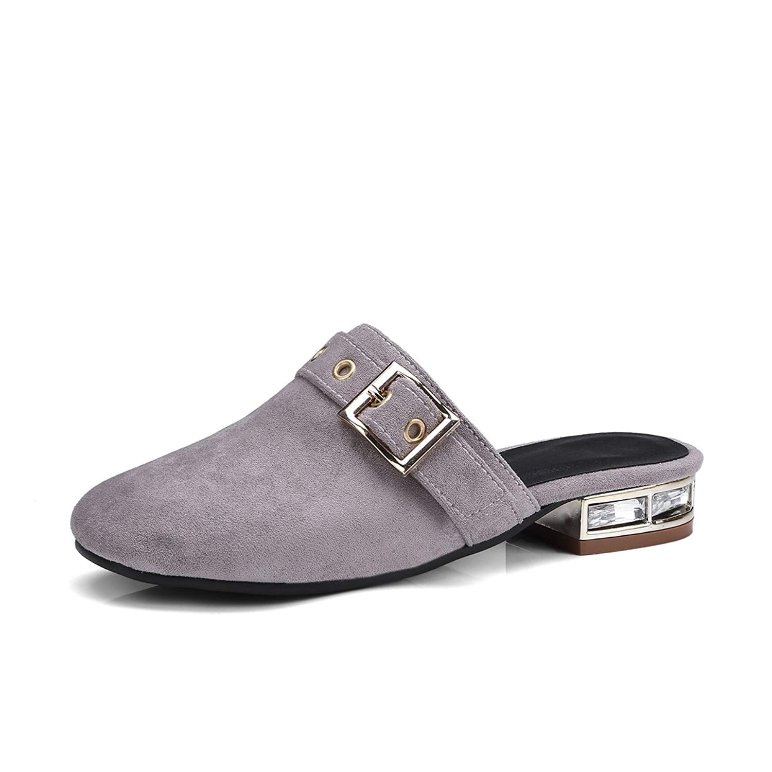60ae1adfc5e Get Quotations · Eithy Mules Shoes for Women Loafers Shoes Round Toe Buckle  Backless Slip On Apricot Gray Pink
