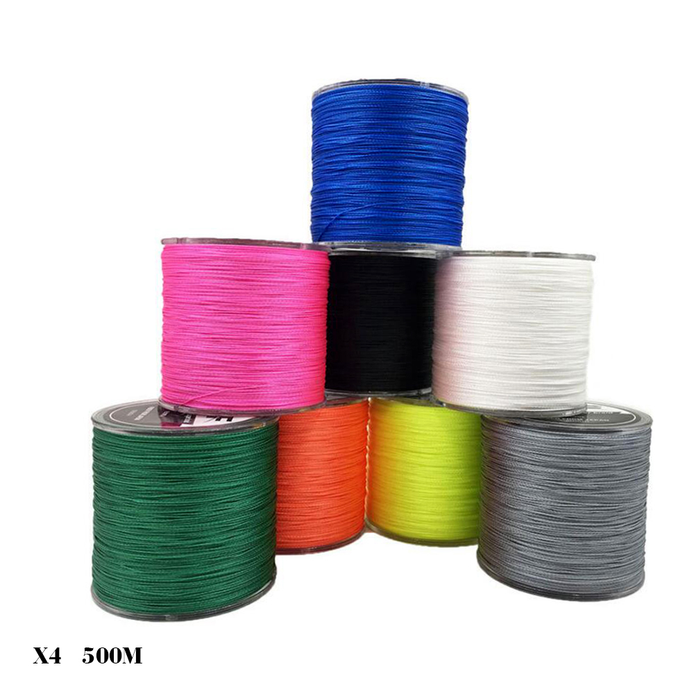 Drop Shipping 500M / 550Yards 4 Strand PE Multifilament Braided 10lb-150lb Fishing Line Thread Wire for Sea Fishing, White;black;yellow;grey;green;blue;orange;pink