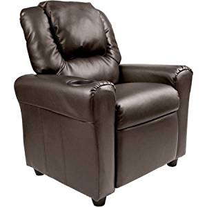 Merveilleux Get Quotations · Flash Furniture DGULTKIDBRN Cushioned Seat Kidsu0027 Vinyl  Recliner With Cupholder And Headrest, Brown
