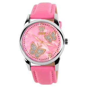 Skmei 9079 bespoke fashion wrist beautiful ladies pink leather watch