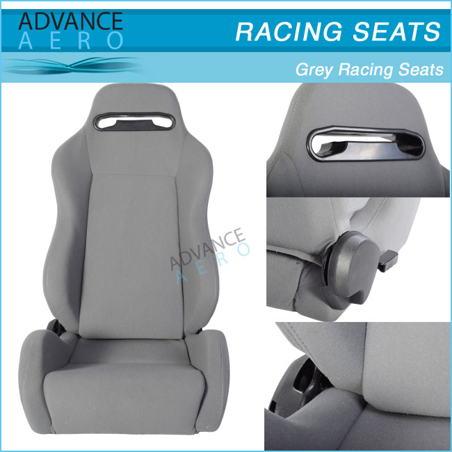 FOR MERCEDES BENZ GREY CLOTH SPORT SEATS WHITE STITCH RECLINABLE SLIDER(PAIR)