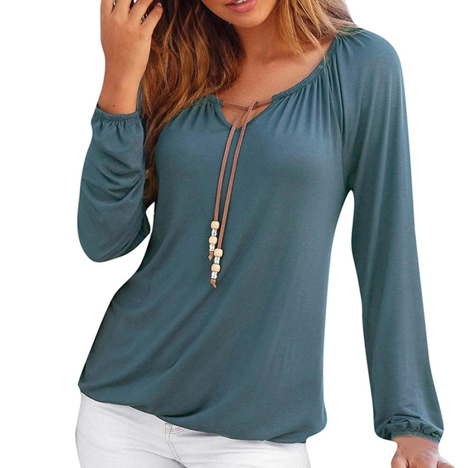 df28cb6ad2b18c Get Quotations · DaySeventh Women s Sexy V Neck Loose Tops Bandage Long  Sleeve Elegant Tops T-Shirt