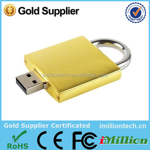 Promotional gift terms gold padlock usb