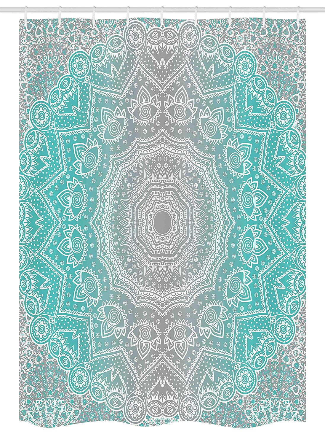 Ambesonne Grey and Turquoise Stall Shower Curtain, Primitive Spiritual Essence and Universe Harmony Mandala Ombre Art, Fabric Bathroom Decor Set with Hooks, 54 W x 78 L Inches, Turquoise Grey