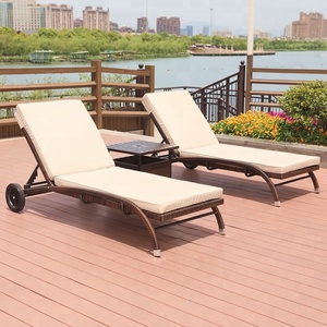 Hot sale fashion design outdoor wicker table rattan sun lounger set