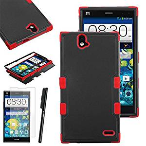 ZTE Grand X Max+ Plus Case, Luxca (Tm) Grand X Max+ Plus (ZTE Z987) Hybrid Heavy Duty Rugged Impact Advanced Armor Symbiosis Soft Silicone Cover Tuff Hard Robust Snap On Dynamic Case + Clear Lcd Screen Protector + Luxca (Tm) Stylus Pen (Black / Red Tuff)