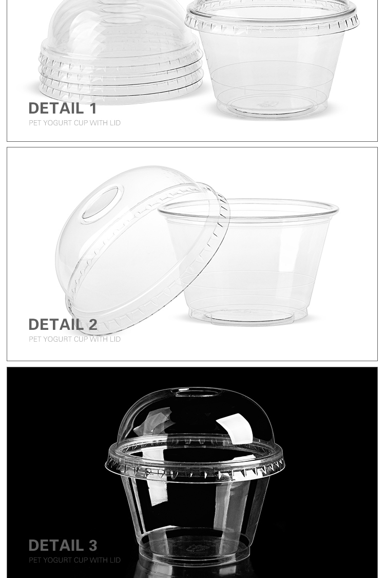 Food grade plastic packaging 120ml PET clear yogurt cup with dome lid