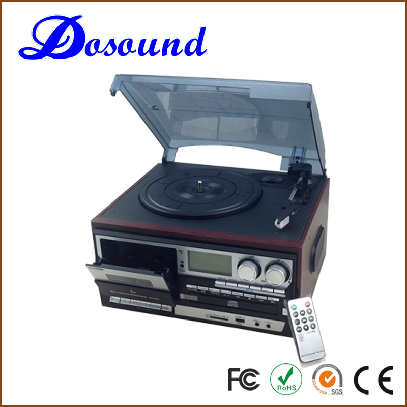 Automatic turntable record player with HIFI stereo system and CD player