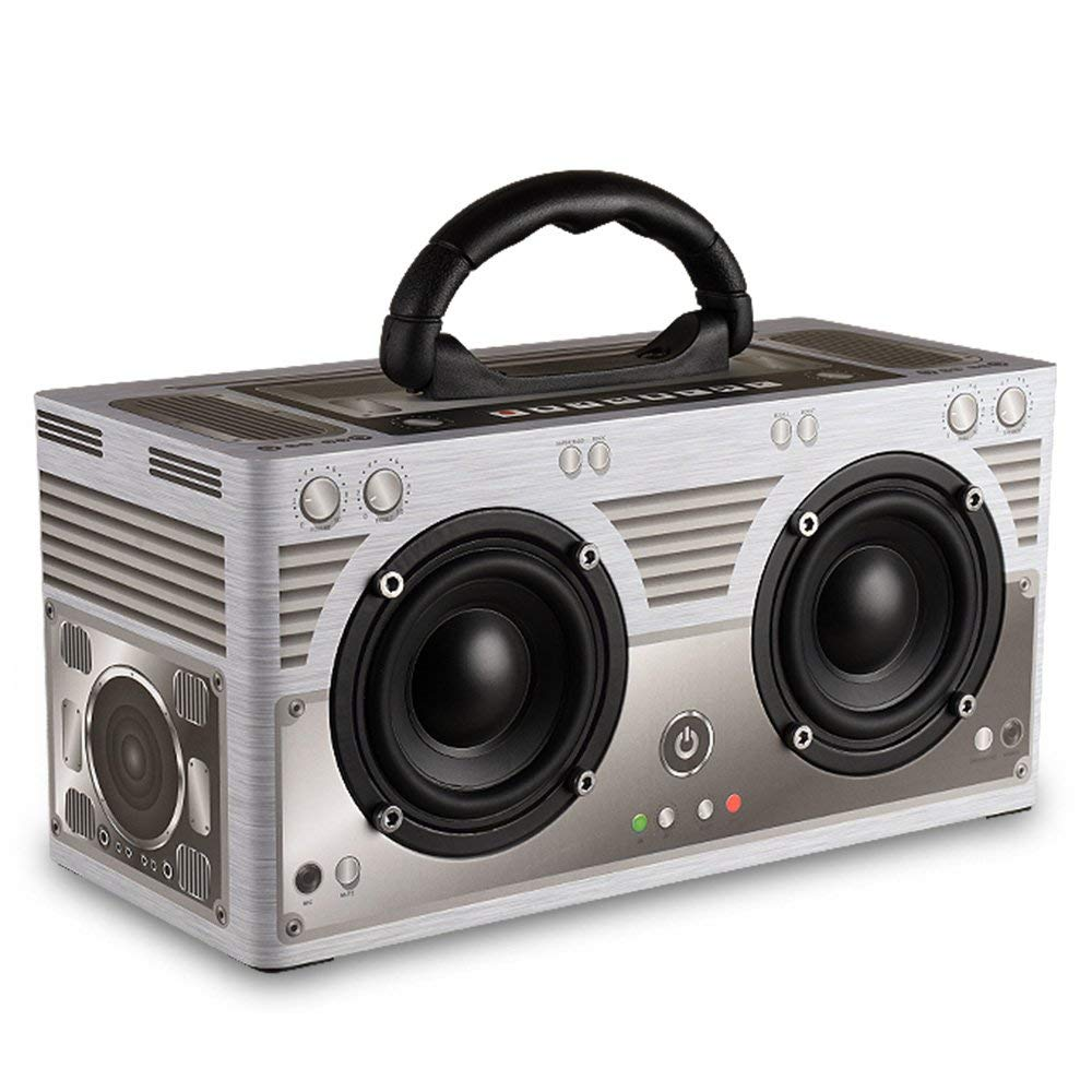W9 Wooden BT 4.2 Speaker,Wireless Portable Stereo Sound Speaker Hands-free w/Mic Support FM Radio TF Card AUX IN Music Play for Smartphones/Laptop/Notebook/Tablet/PC