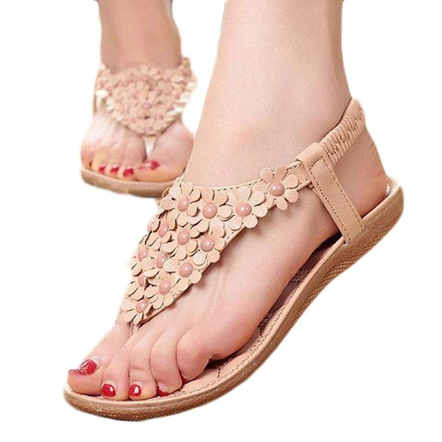 Sexy lace up beaded barefoot sandals knee high sandals