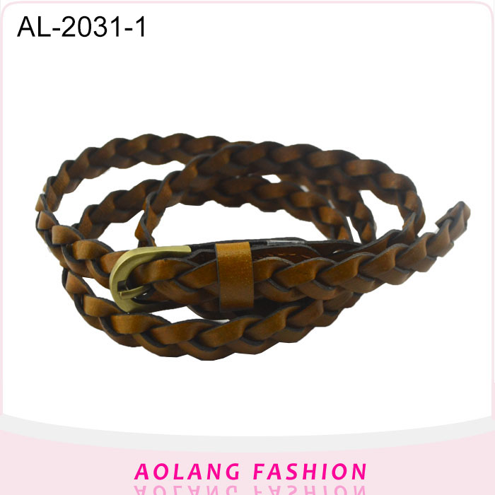 Yiwu High quality Factory colorful pu braid weave belt for lady