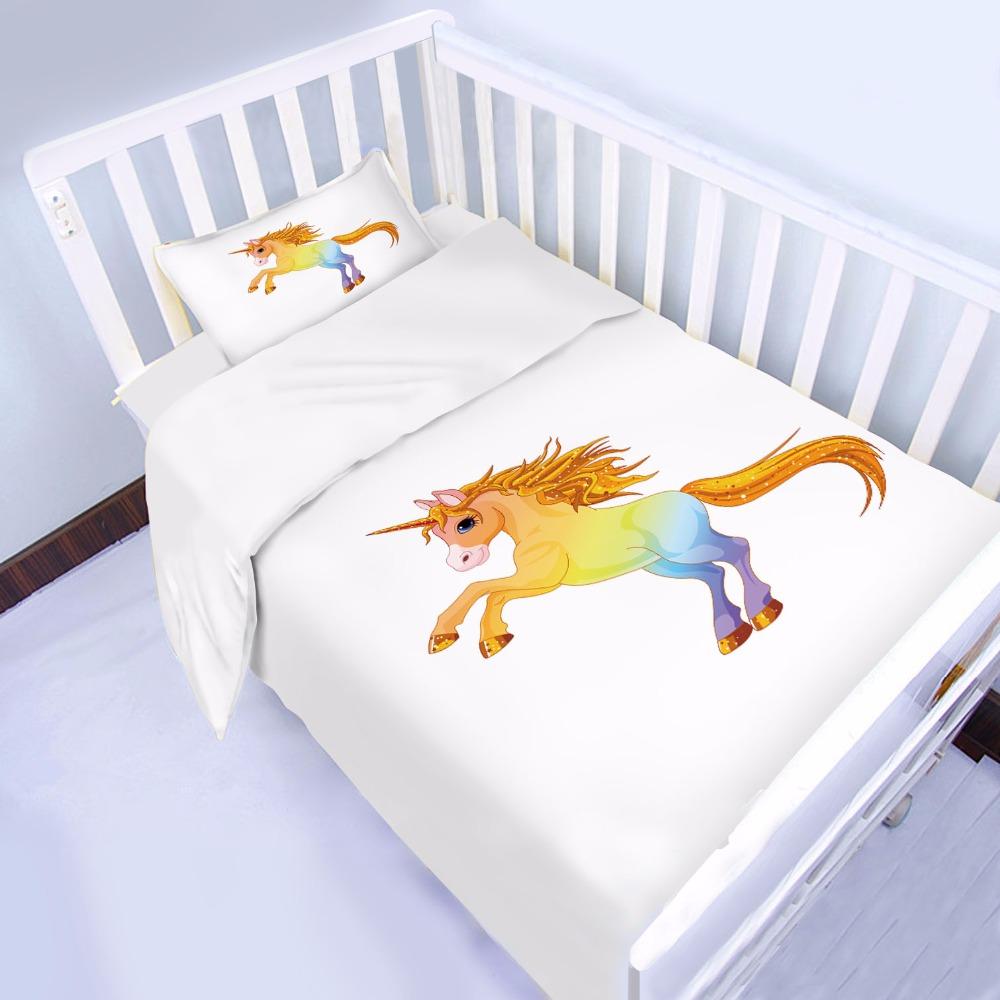 100/% Cotton Unicorn Nursery Baby Bedding Crib Cot Duvet Cover Set with Comforter